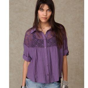 Free People Lace Buttondown Shirt Violet XS NWOT